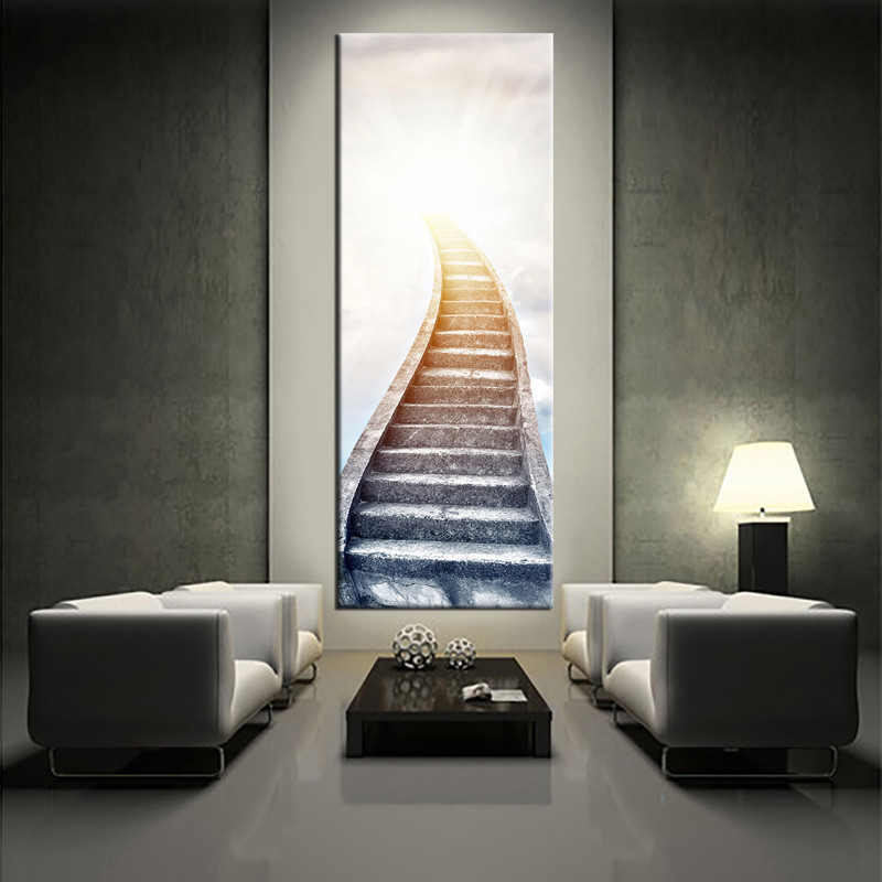 piece white large pictures stair modern artwork