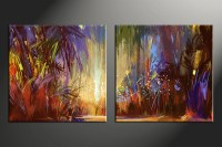 2 Piece Colorful Oil Paintings Scenery Canvas Wall Art
