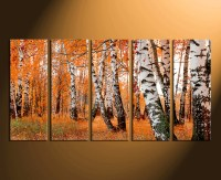 5 Piece Wall Decor, Orange Panoramic Huge Canvas Print ...