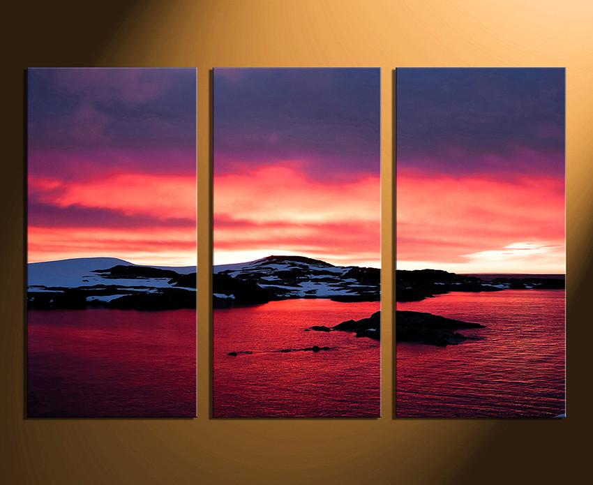 3 Piece Canvas Print, Landscape Wall Decor, Ocean Canvas