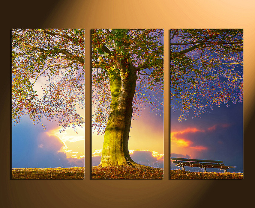 3 Piece Canvas Print, Scenery Huge Canvas Art, Blue Multi