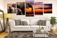 5 Piece Huge Canvas Print, Elephant Wall Art, Panoramic ...