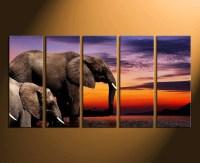 5 Piece Multi Panel Canvas, Elephant Wall Art, Animal Huge ...