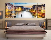 3 Piece Large Pictures, Cityscape Wall Decor, Boat Multi ...