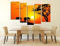 5 Piece Group Canvas, Elephant Photo Canvas, Sky Canvas ...