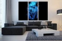 3 Piece Canvas Wall Art, Blue Huge Canvas Print, Tiger ...