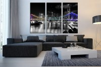 3 Piece Artwork, Greece Multi Panel Art, Cityscape Canvas