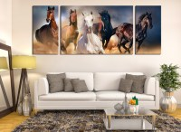 3 Piece Canvas Wall Art, Horses Wall Decor, Panoramic ...
