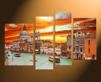 4 Piece Multi Panel Art, Lake Canvas Wall Art, City Canvas