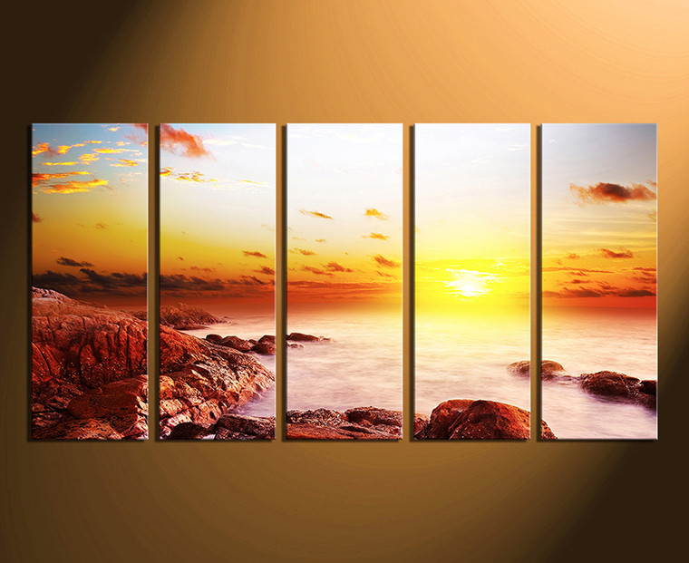 5 Piece Huge Canvas Art Sunrise Large Pictures Ocean