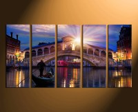5 Piece Wall Decor, Panoramic Canvas Print, Cityscape Wall ...