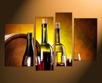 4 Piece Canvas Art Prints, Wine Bottles Canvas Photography ...