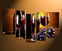 5 Piece Huge Canvas Print, Wine Glass Canvas Wall Art ...