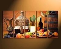 5 Piece Canvas Wall Art, Fruits Wall Decor, Wine Huge ...