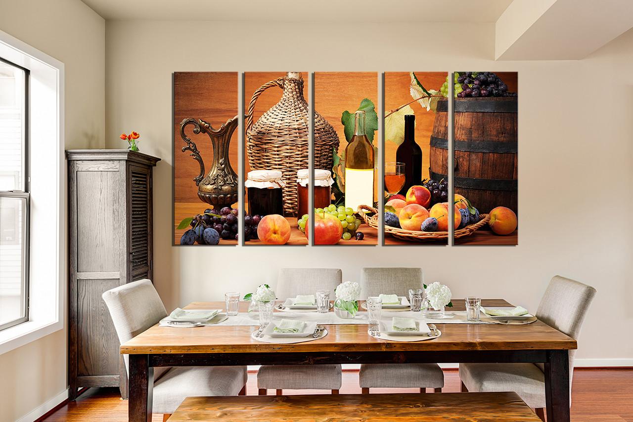 5 Piece Canvas Wall Art Fruits Wall Decor Wine Huge