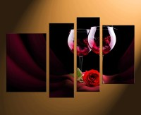4 Piece Canvas Wall Art, Wine Wall Decor, Rose Canvas ...