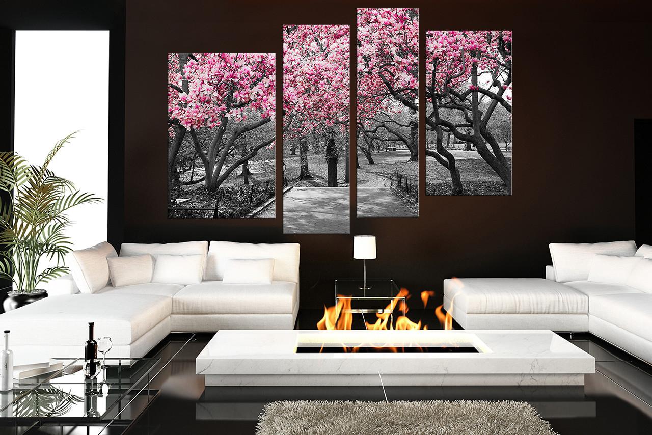 4 Piece Wall Decor, Scenery Wall Art, Grey Canvas Art