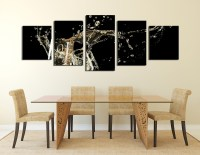 5 Piece Wall Decor, Panoramic Huge Canvas Print, Champagne ...