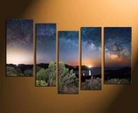 5 Piece Canvas Art Prints, Blue Canvas Wall Art, Stars ...