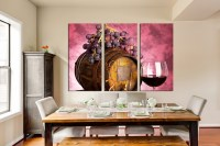3 Piece Large Pictures, Wine Artwork, Grapes Wall Decor ...
