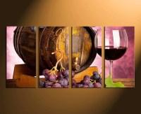 4 Piece Artwork, Wine Canvas Wall Art, Wine Glass Huge ...