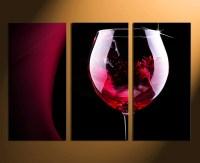 3 Piece Multi Panel Art, Red Wine Canvas Wall Art, Wine ...