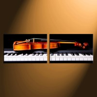 2 Piece Large Pictures, Music Group Canvas, Violin Wall ...
