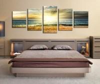 5 Piece Wall Decor, Panoramic Canvas Photography, Ocean ...