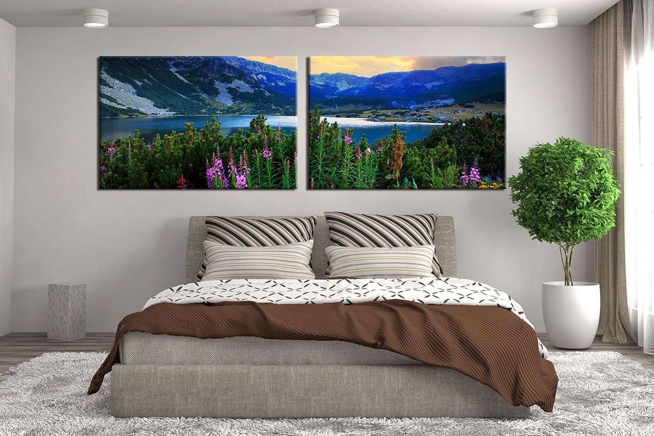 2 Piece Artwork, Mountain Multi Panel Canvas, Panoramic