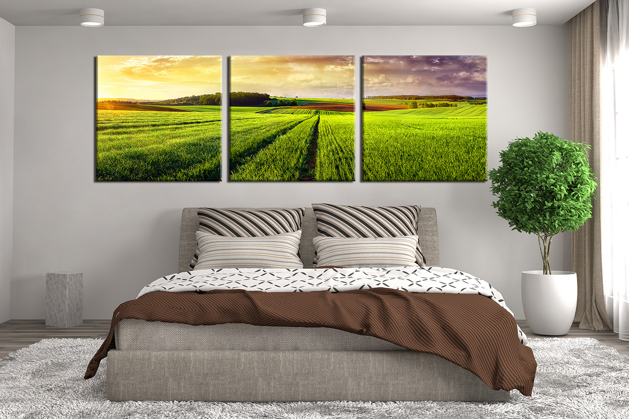 3 Piece Multi Panel Canvas Panoramic Large Pictures Green Nature Huge Canvas Print Scenery