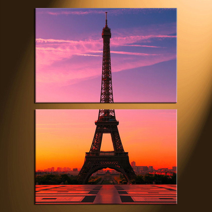 2 Piece Canvas Wall Art Eiffel Tower Huge Print