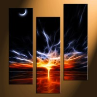 3 Piece Canvas Print, Red Abstract Multi Panel Art ...