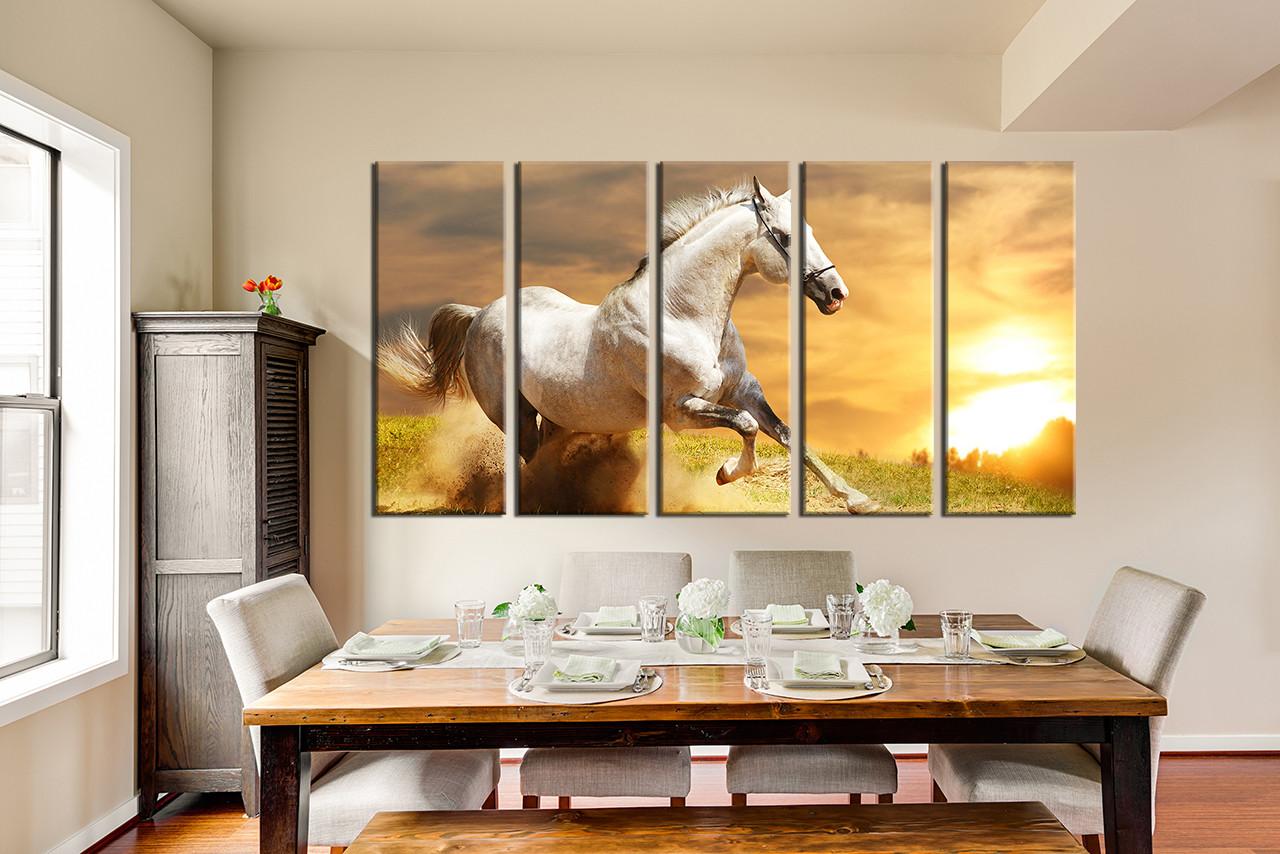 5 Piece Canvas Wall Art, Horse Multi Panel Art, Nature