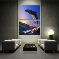 2 Piece Multi Panel Canvas, Dolphin Canvas Wall Art, Water ...
