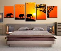 5 Piece Multi Panel Art, Elephant Canvas Wall Art, Animal ...