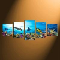 5 Piece Group Canvas, Fish Multi Panel Art, Turtle Wall ...