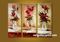 3 Piece Multi Panel Art, Floral Wall Decor, Red Flowers ...