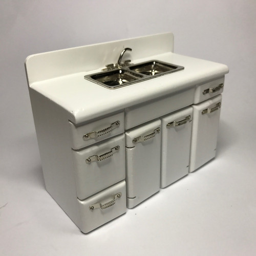 1950's Retro Kitchen Sink Cabinet Jeepers Dollhouse Miniatures