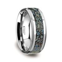 Blue Dinosaur Bone Inlaid Tungsten Carbide Ring with ...