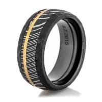 Men's Black Zirconium Hammered Damascus and Gold Ring ...