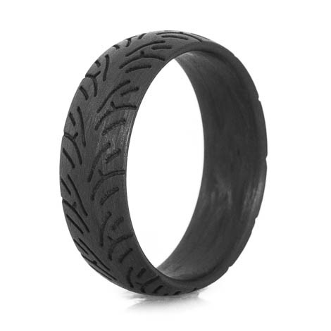 Mens Carbon Fiber Sport Bike Tread Ring  TitaniumBuzz