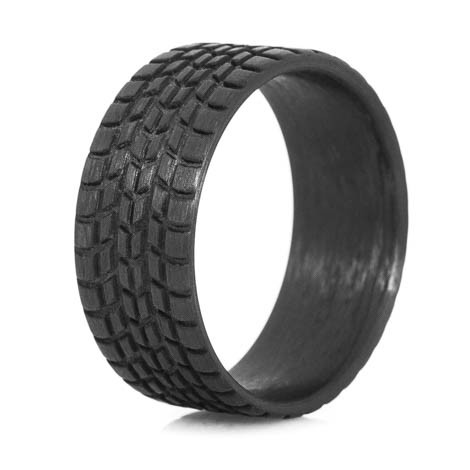 Mens Carbon Fiber Sport Tread Ring Titanium Buzz