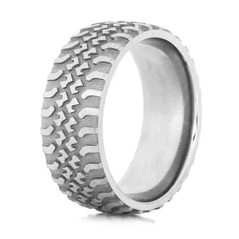 Mens Titanium Tire Tread Wedding Ring Titanium Buzz