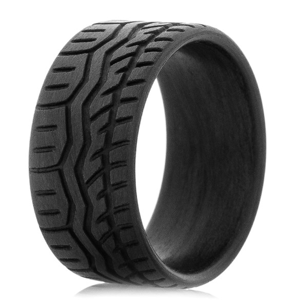 Carbon Fiber Drift Tire Wedding Band  Titanium Buzz