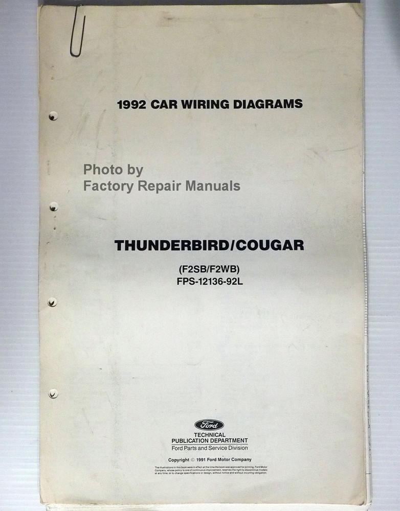 1992 Ford Thunderbird Mercury Cougar Electrical Wiring