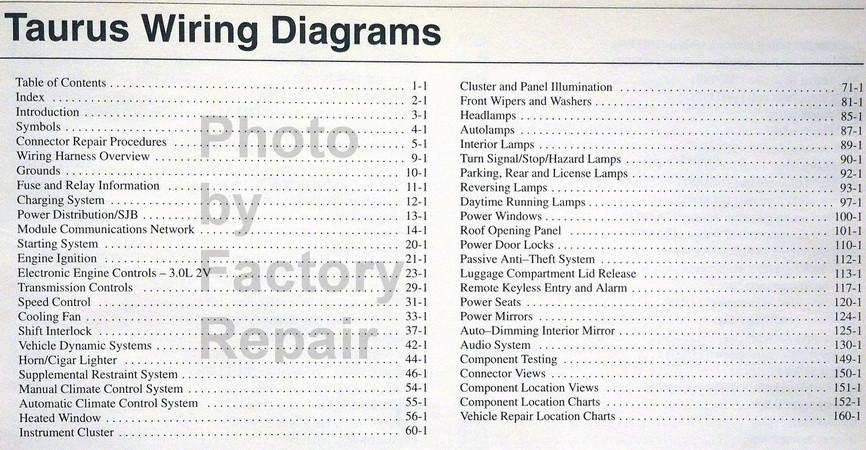 2006 2007 Ford Taurus Electrical Wiring Diagrams Manual