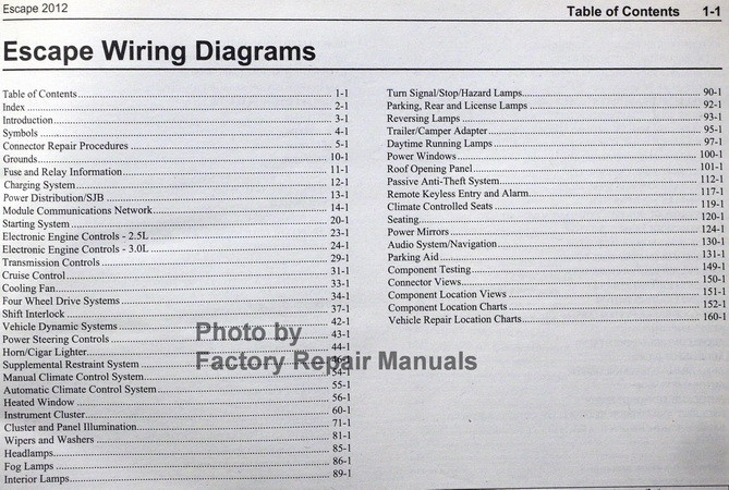 2012 Ford Escape Electrical Wiring Diagrams Manual  Gas