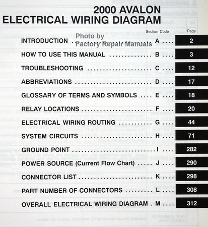 2000 Toyota Avalon Electrical Wiring Diagrams Original
