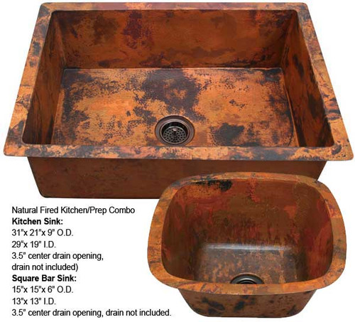 copper kitchen sinks sink faucets at lowes dark farmhouse direct square bar combo natural fire kdi sbv