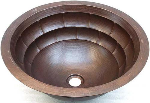 "17"" round copper bath sink | tortoise block | copper bath sinks direct"